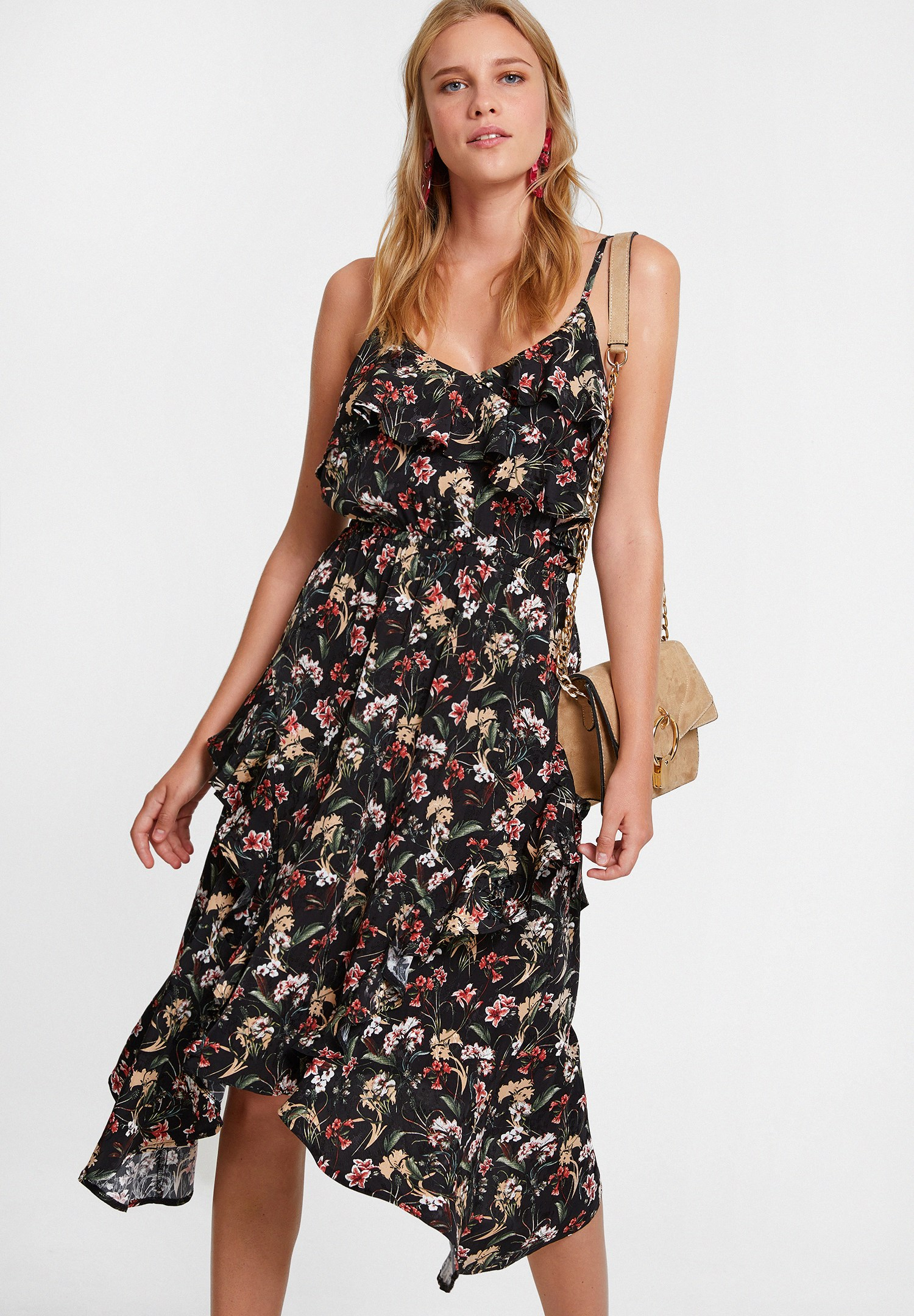 Bayan Çok Renkli Floral Desenli Elbise