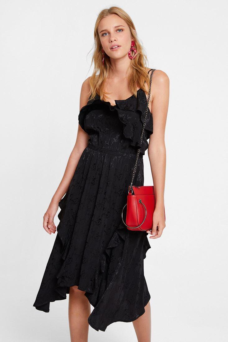 Siyah Fırfırlı Desenli Elbise