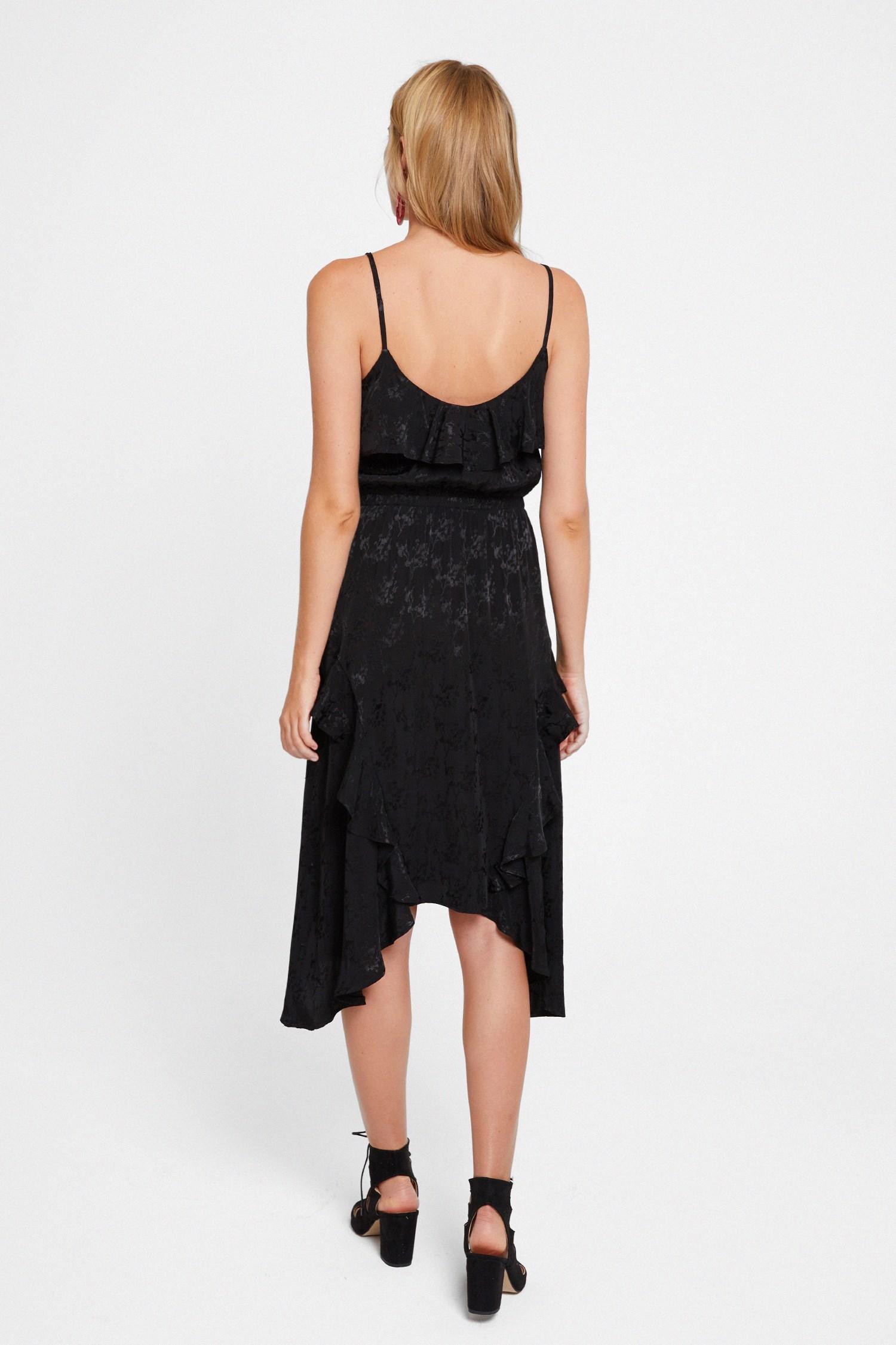 Bayan Siyah Fırfırlı Desenli Elbise