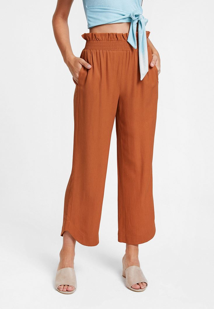 Brown Pants with Elasticated Waist