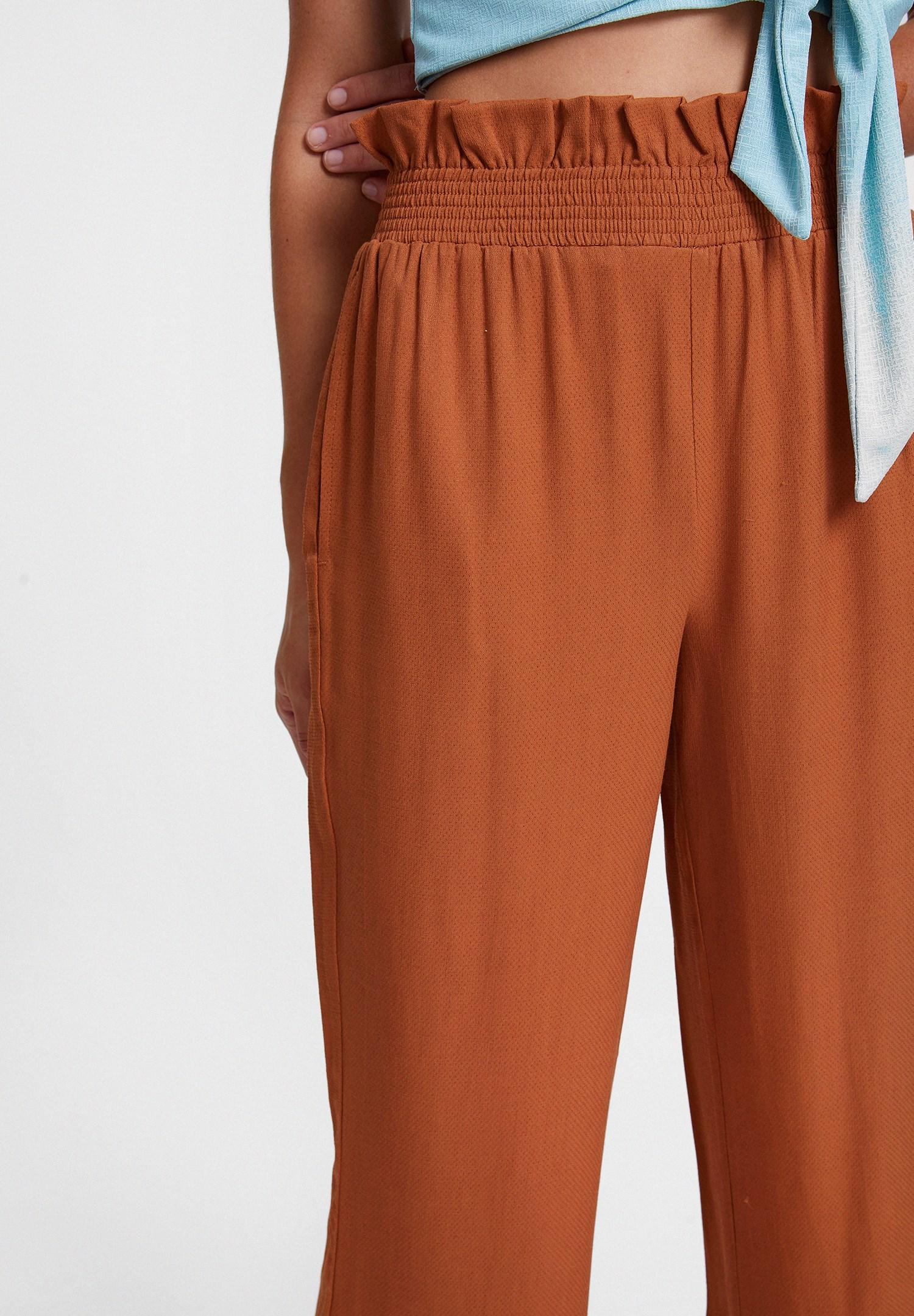 Bayan Kahverengi Beli Lastikli Cep Detaylı Bol Pantolon