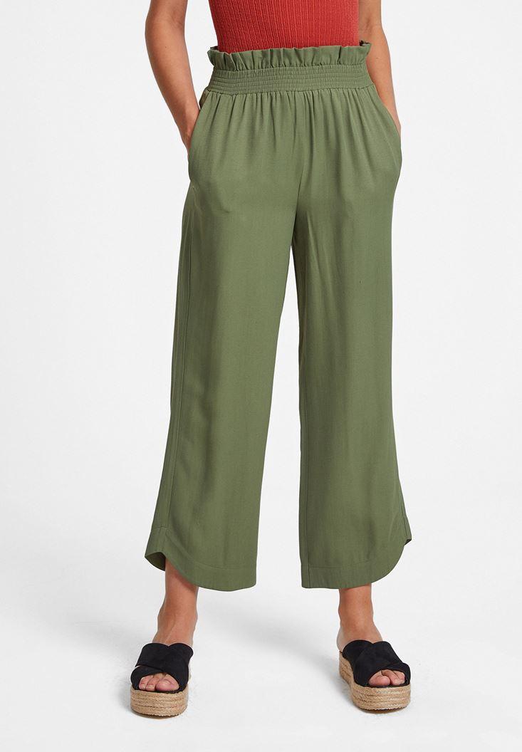 Yeşil Beli Lastikli Cep Detaylı Bol Pantolon