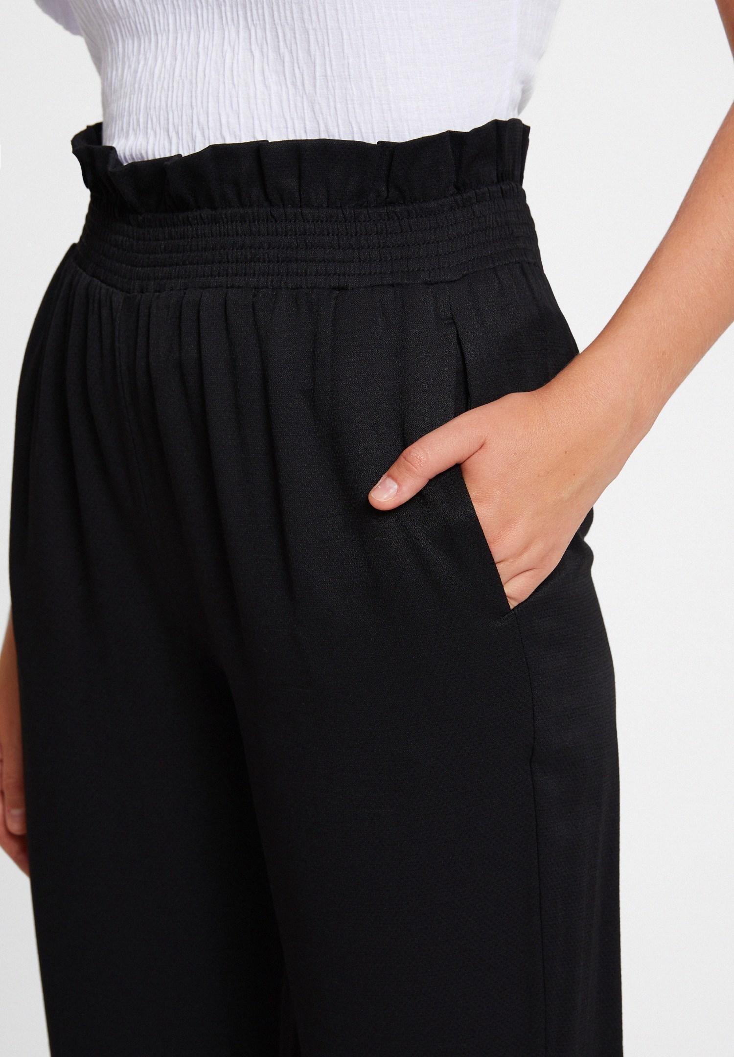 Bayan Siyah Beli Lastikli Cep Detaylı Bol Pantolon