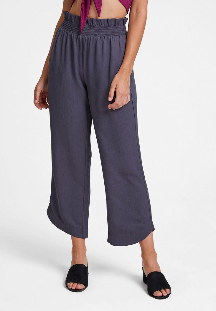 Gri Beli Lastikli Cep Detaylı Bol Pantolon