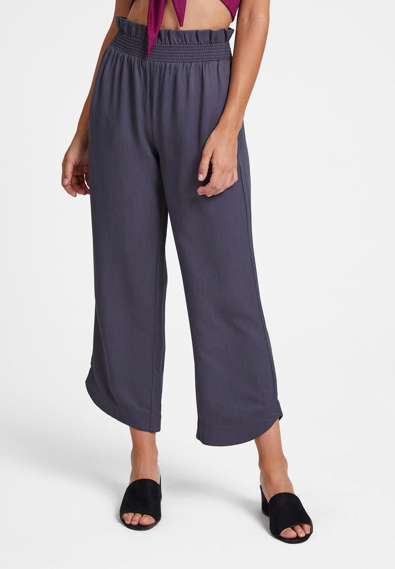 Bayan Gri Beli Lastikli Cep Detaylı Bol Pantolon