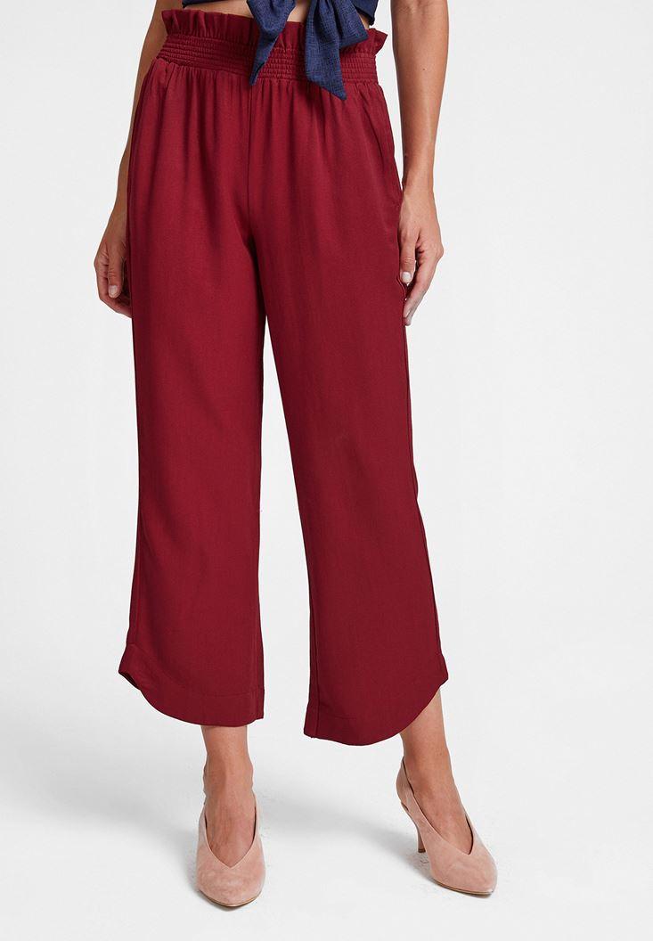 Bordo Beli Lastikli Cep Detaylı Bol Pantolon