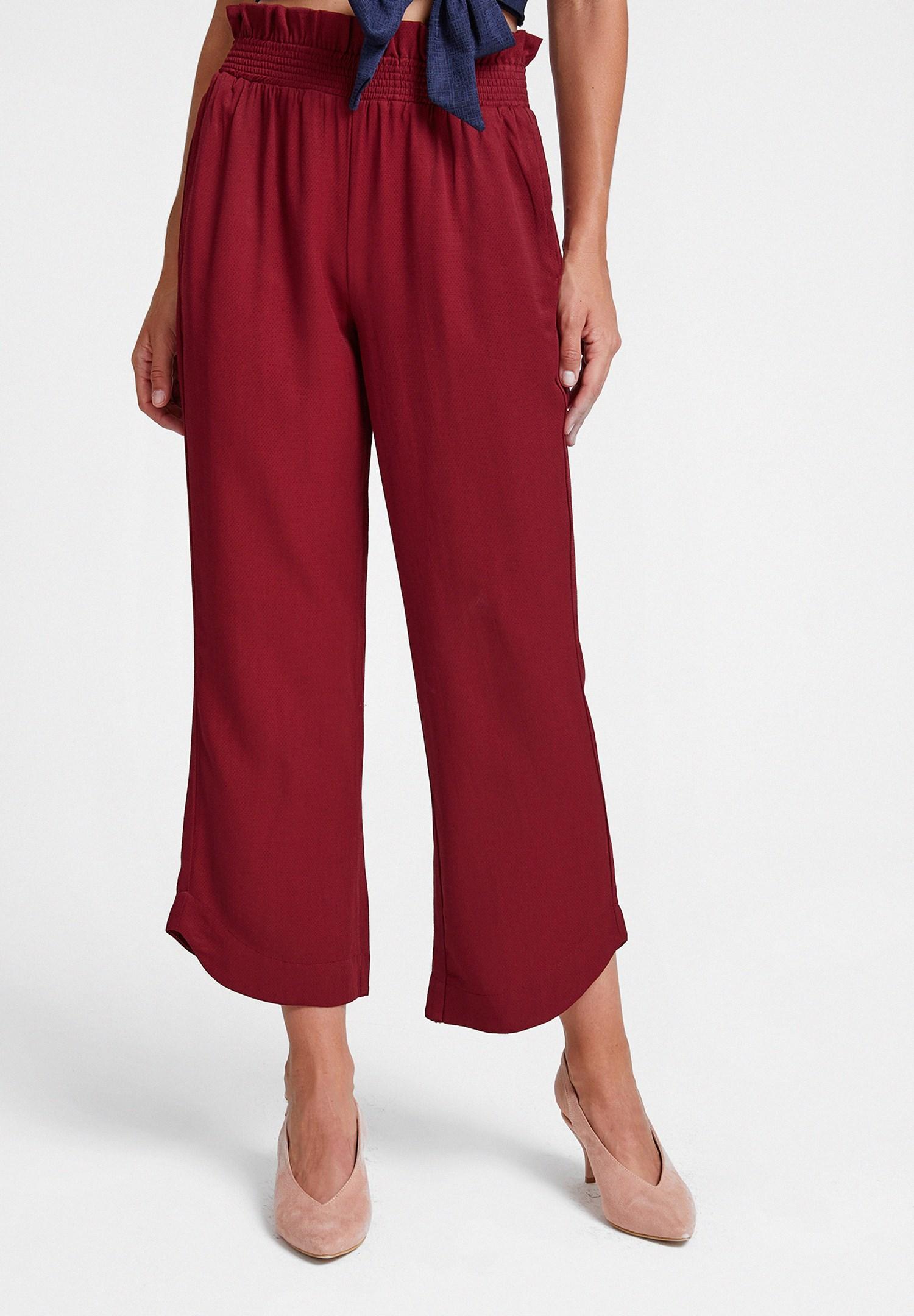Bayan Bordo Beli Lastikli Cep Detaylı Bol Pantolon