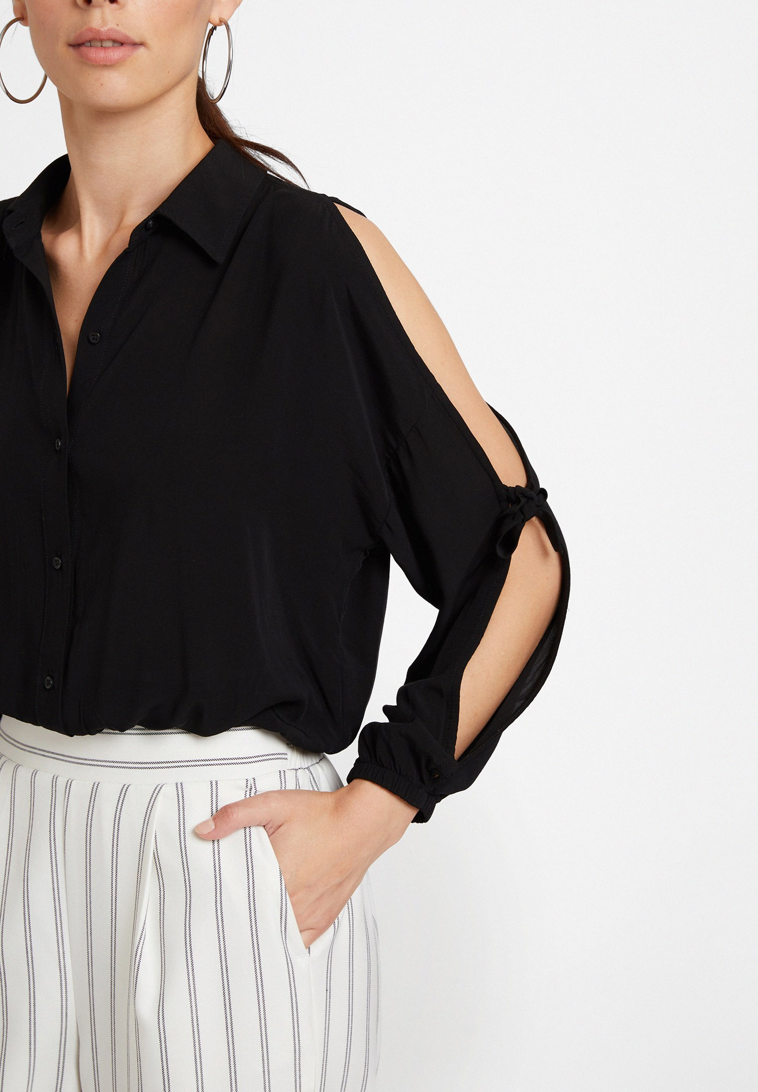 Women Black Long Sleeve Shirt with Details