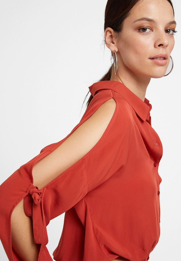 Red Long Sleeve Shirt with Details