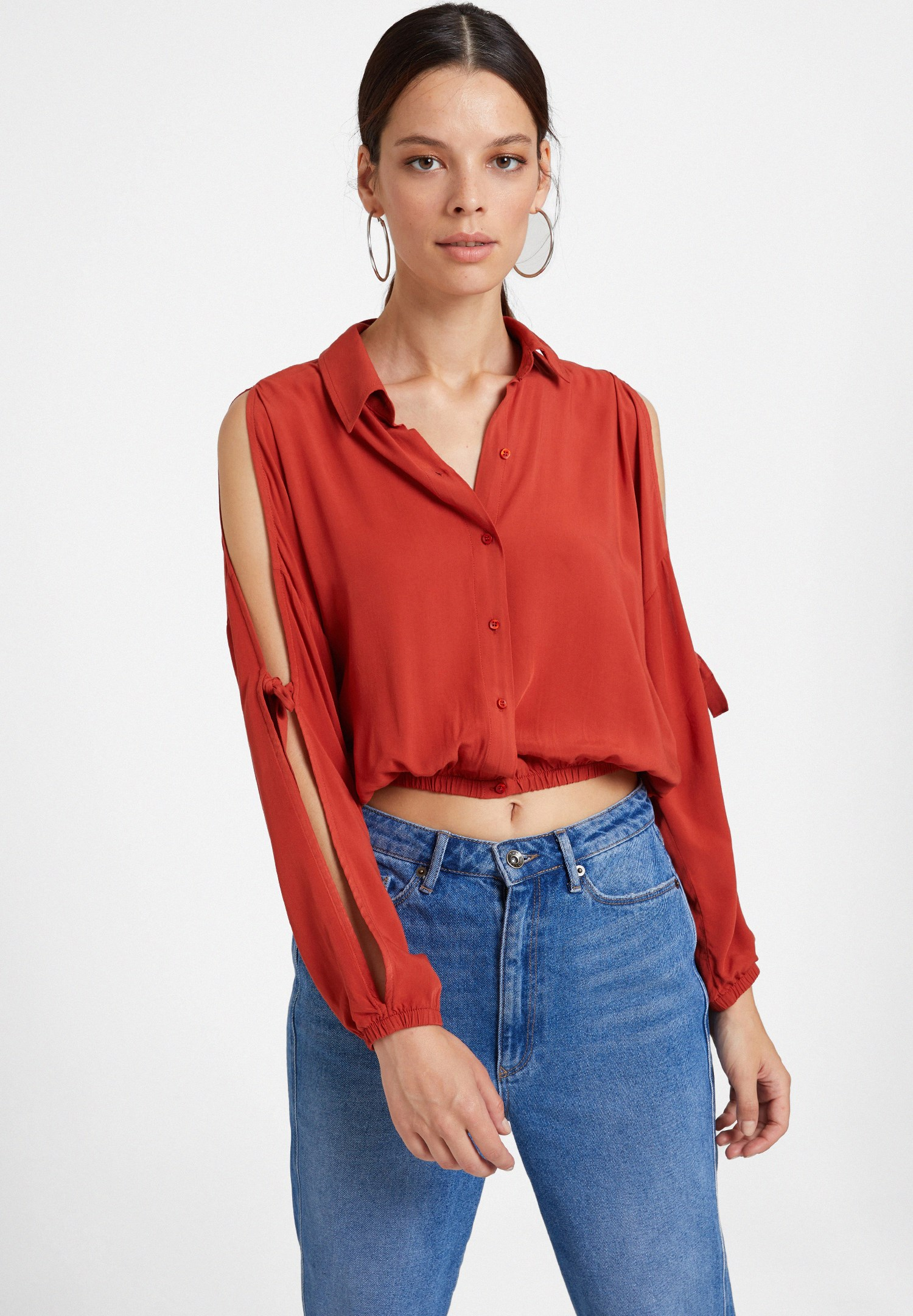 Women Red Long Sleeve Shirt with Details