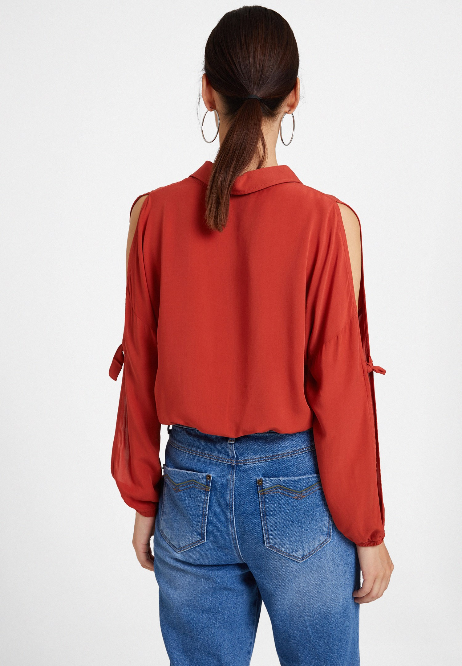 Women Brown Long Sleeve Shirt with Details