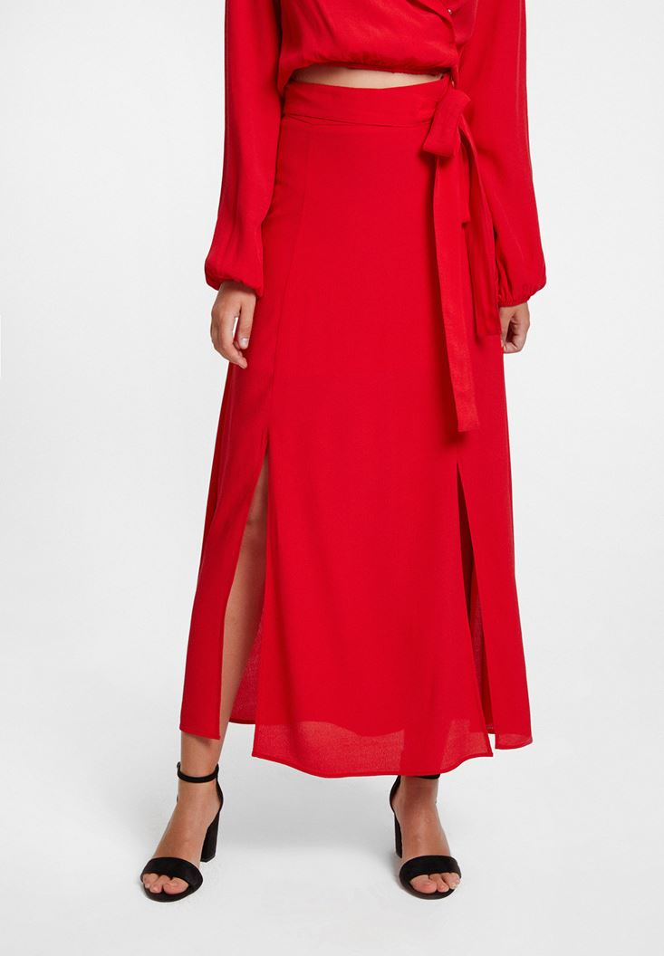 Red Skirt with Slits