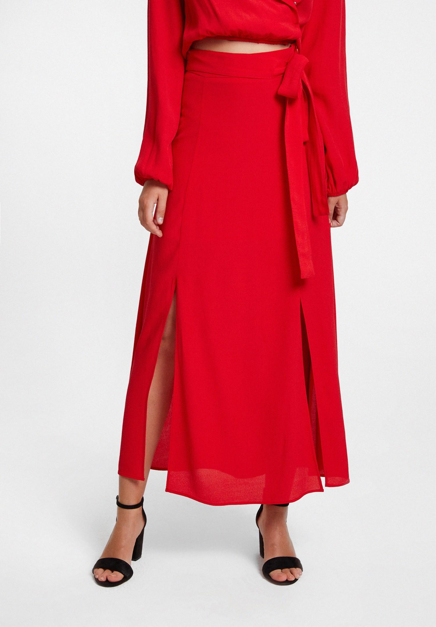 Bayan Kırmızı Beli Bağlamalı Yırtmaç Detaylı Etek