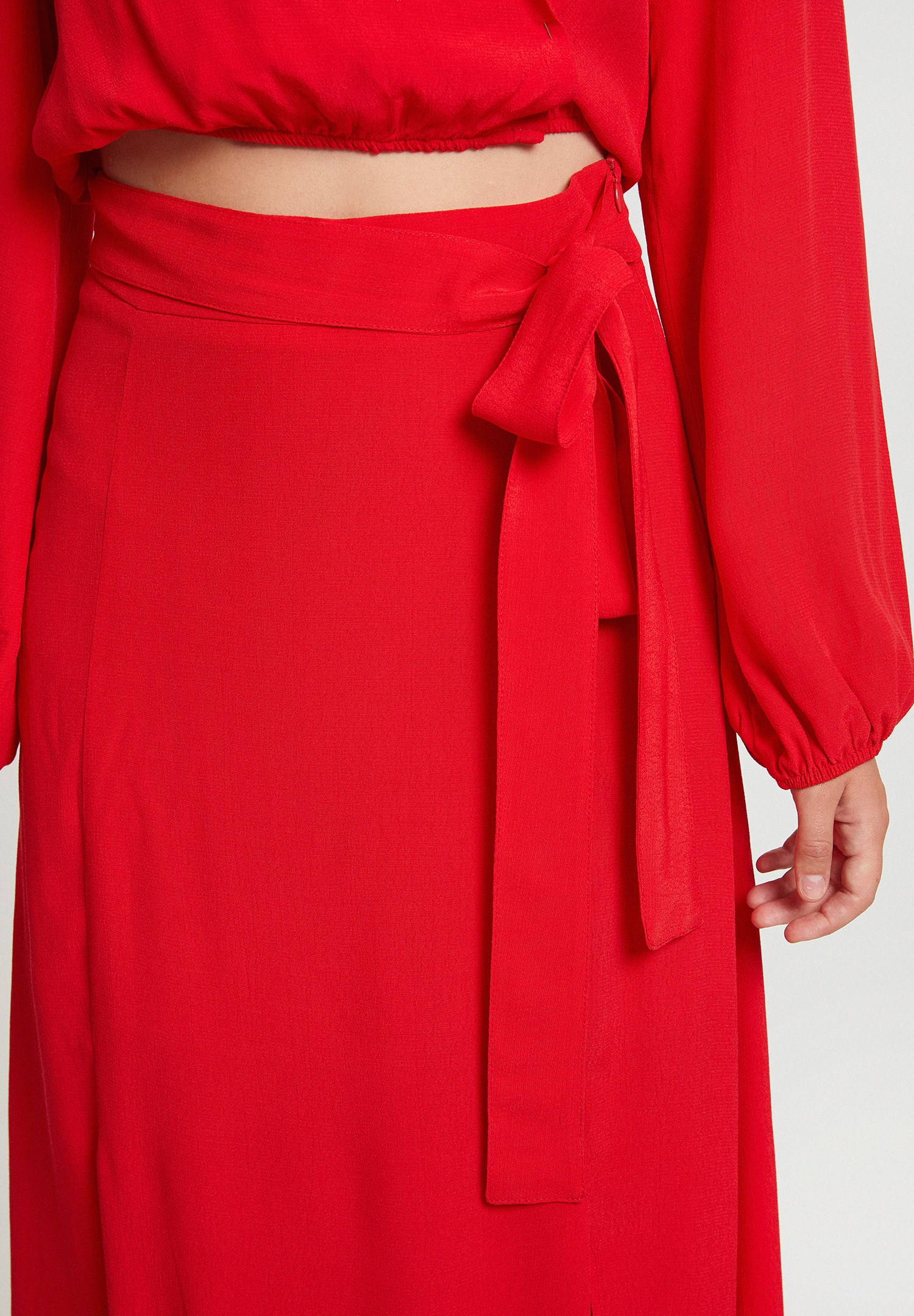 Women Red Skirt with Slits