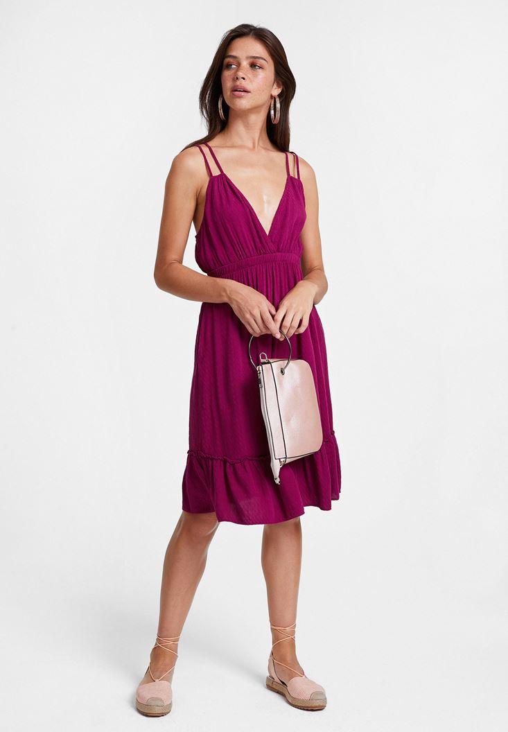 Bordo V Yaka Çift Askılı Elbise