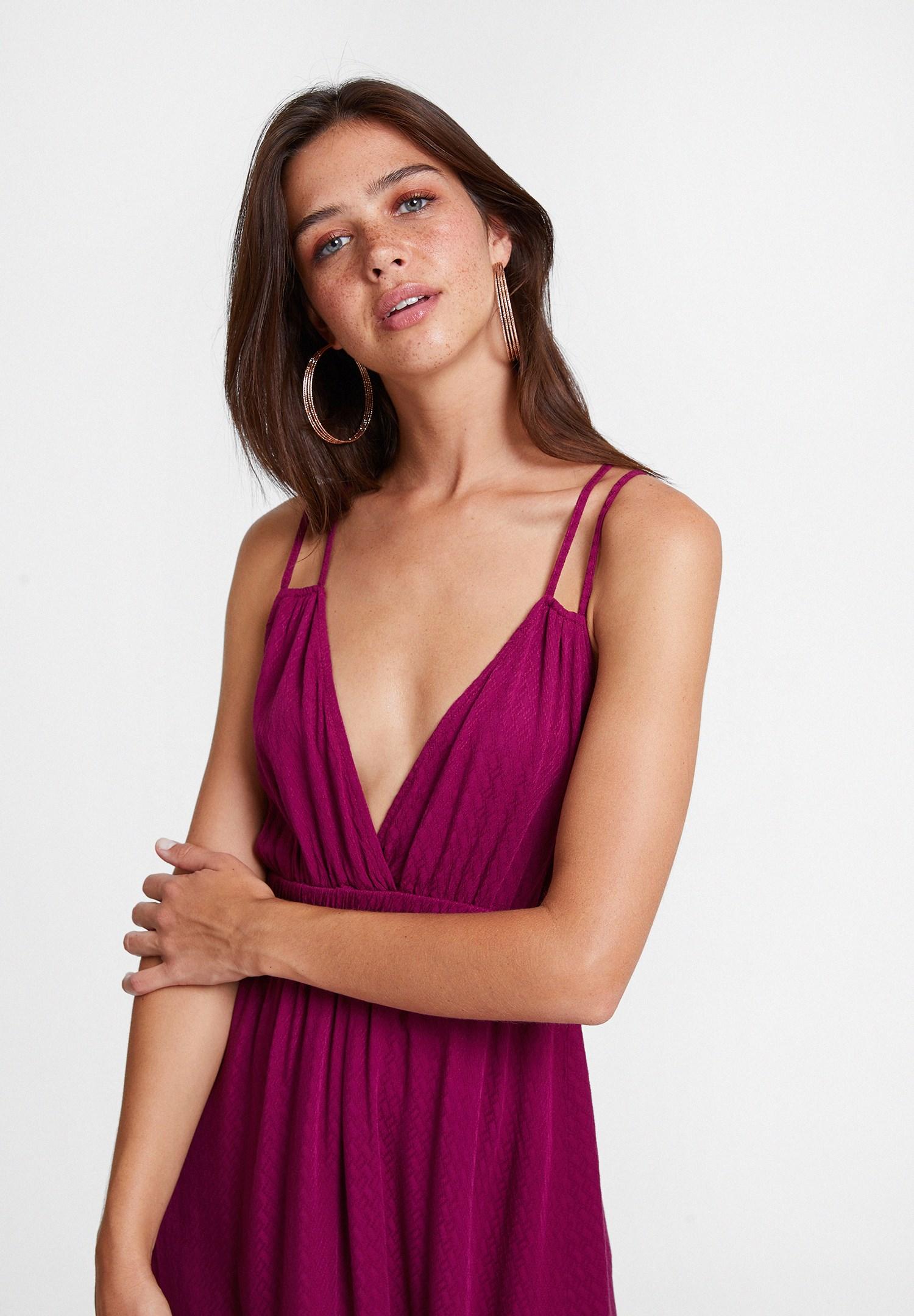 Bayan Bordo V Yaka Çift Askılı Elbise