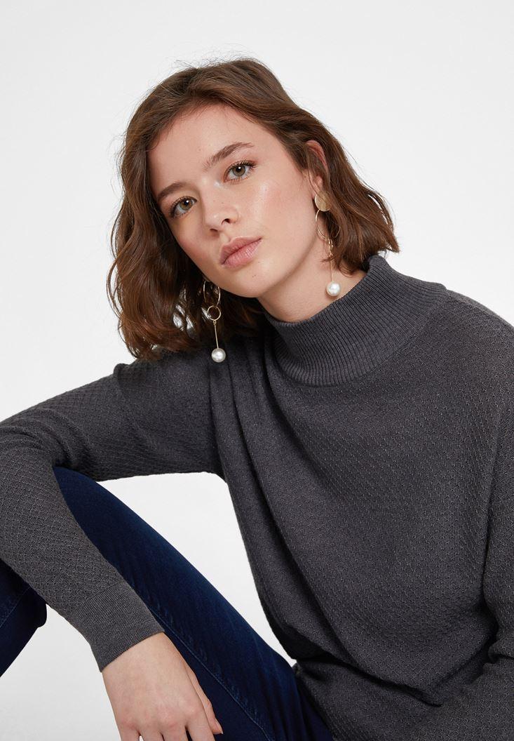 Grey Textured Roll Neck Knitwear