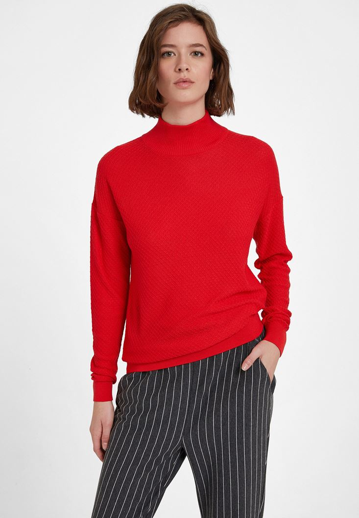 Red Textured Roll Neck Knitwear