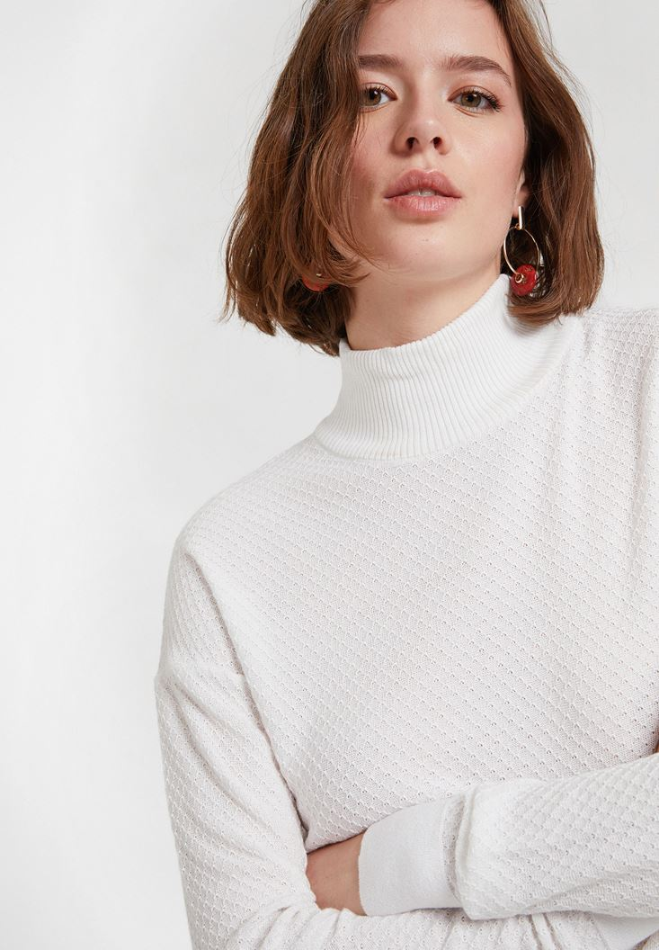 Cream Textured Roll Neck Knitwear