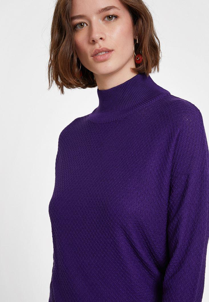 Purple Textured Roll Neck Knitwear