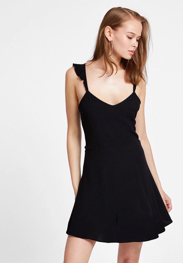 Bayan Siyah Sırtı Çapraz Askılı Mini Elbise