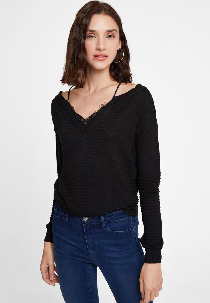 Black Off the Shoulder Knitwear with Details