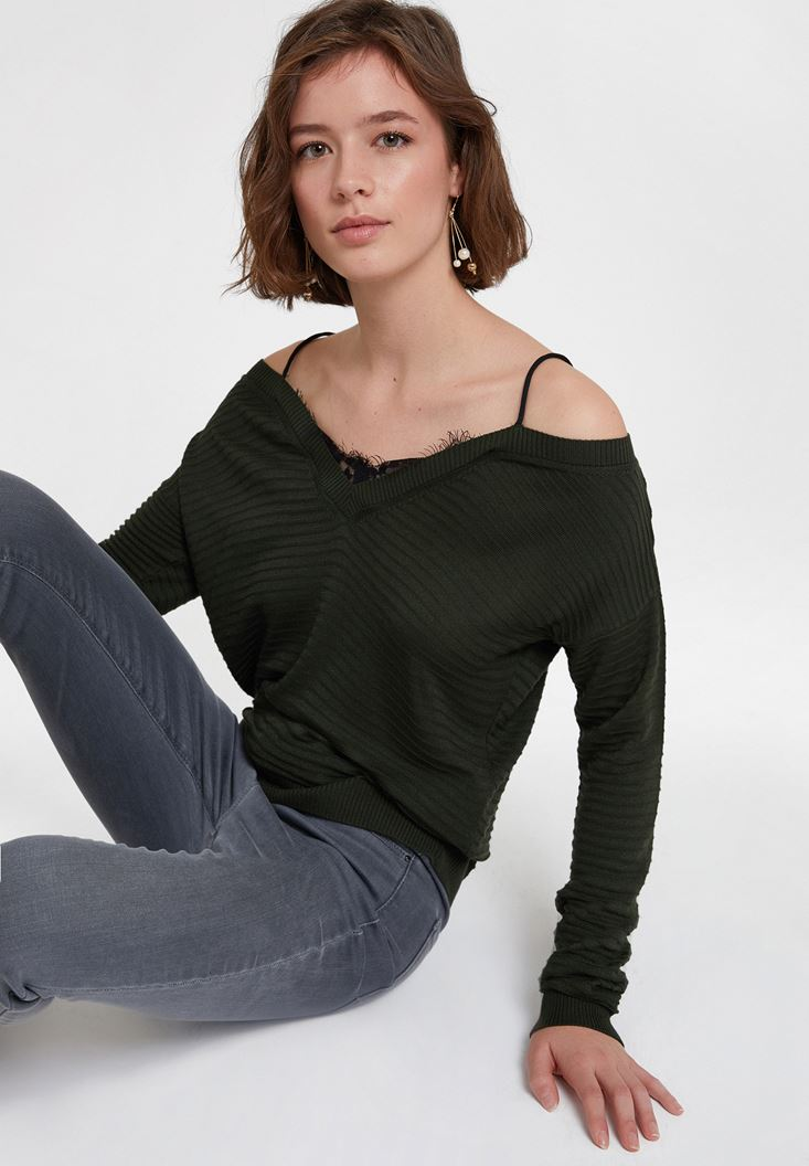 Green Off the Shoulder Knitwear with Details