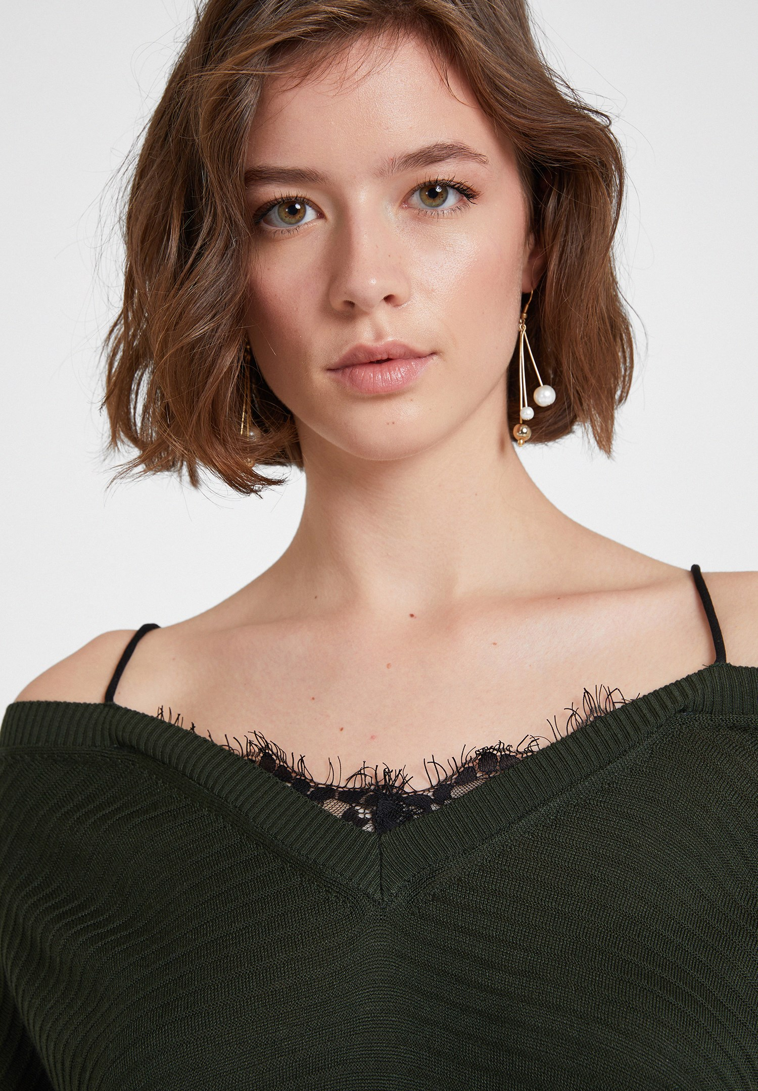 Women Green Off the Shoulder Knitwear with Details