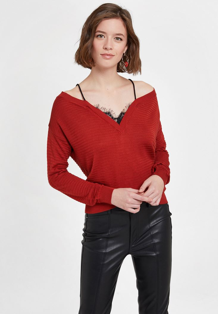Red Off the Shoulder Knitwear with Details