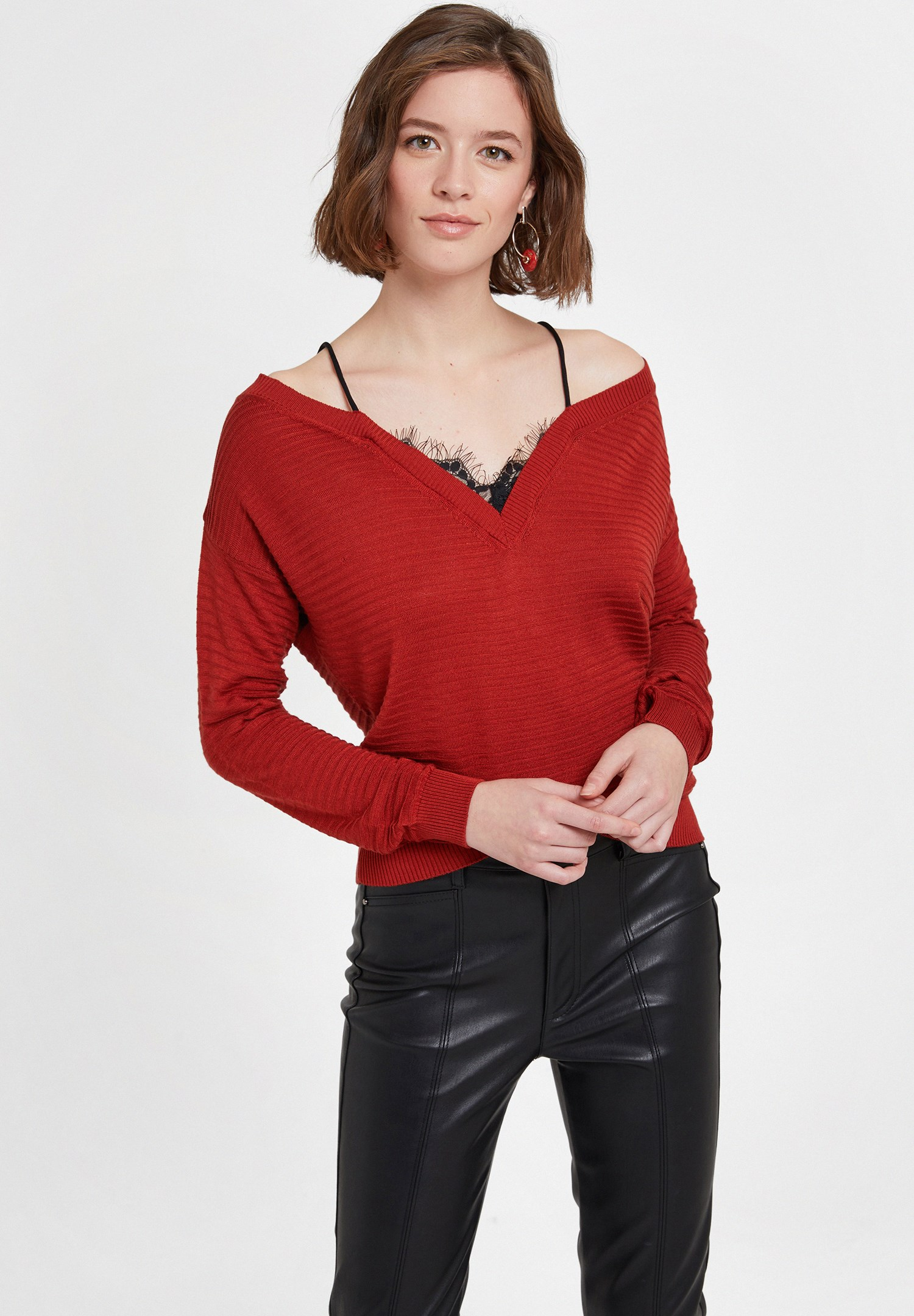 Women Red Off the Shoulder Knitwear with Details