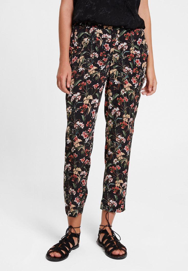 Çok Renkli Çiçek Desenli Orta Bel Pantolon