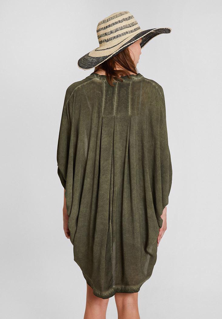 Bayan Yeşil Uzun Viskon Kimono