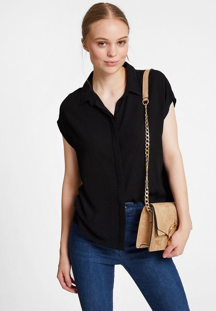 Siyah Kısa Kollu Viskon Gömlek