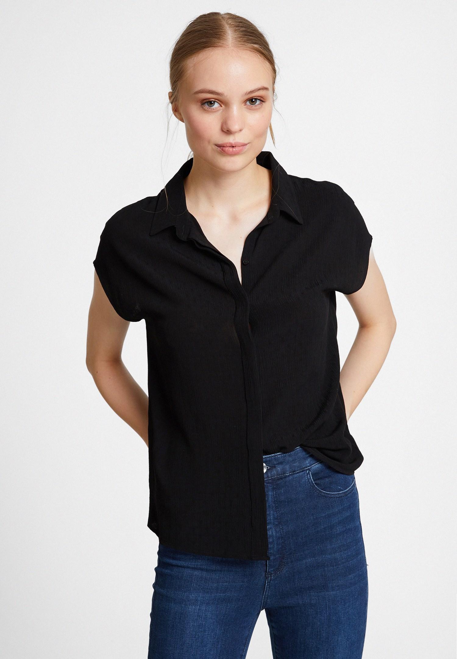 Bayan Siyah Kısa Kollu Viskon Gömlek