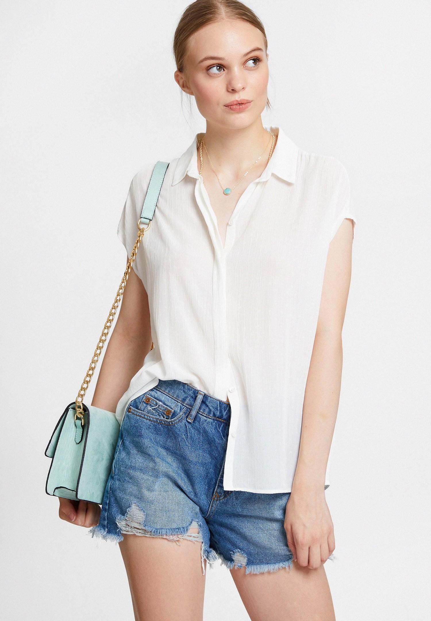 Women Cream Viscose Shirt