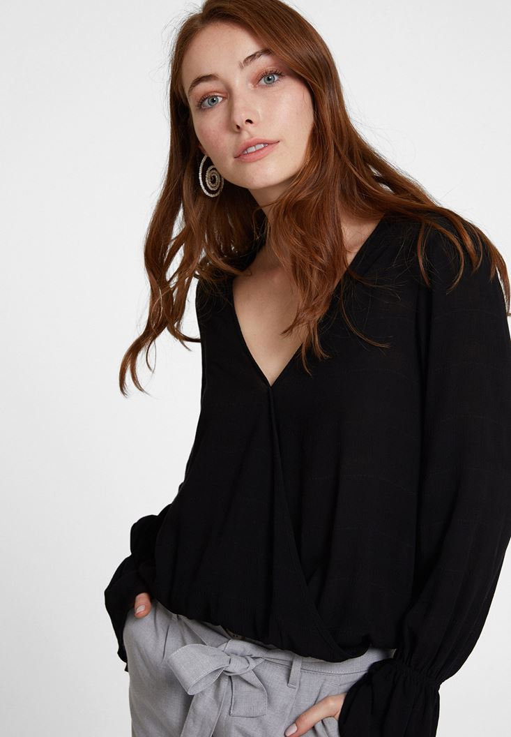 Black Textured Wrap Top