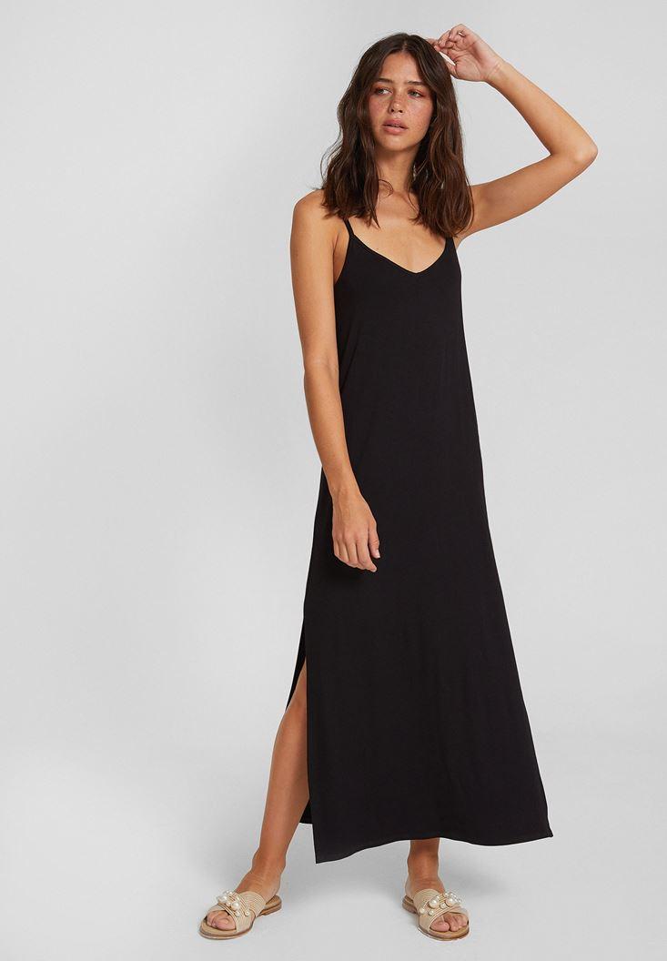 Siyah V Yaka İnce Askılı Yırtmaç Detaylı Elbise