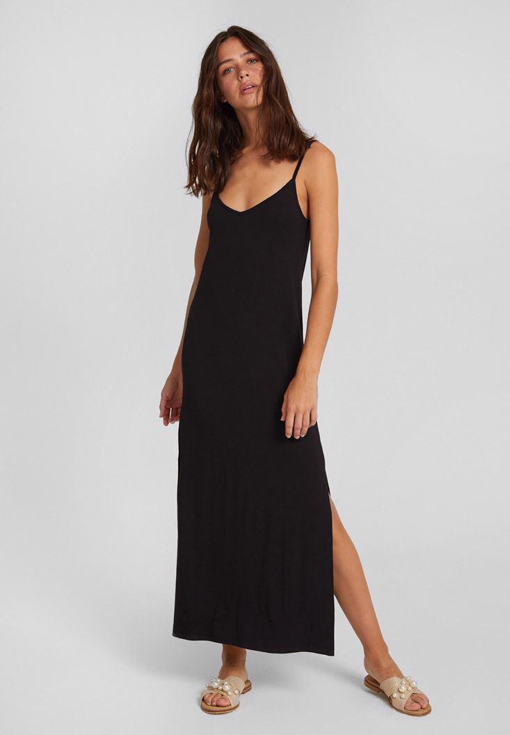 Bayan Siyah V Yaka İnce Askılı Yırtmaç Detaylı Elbise