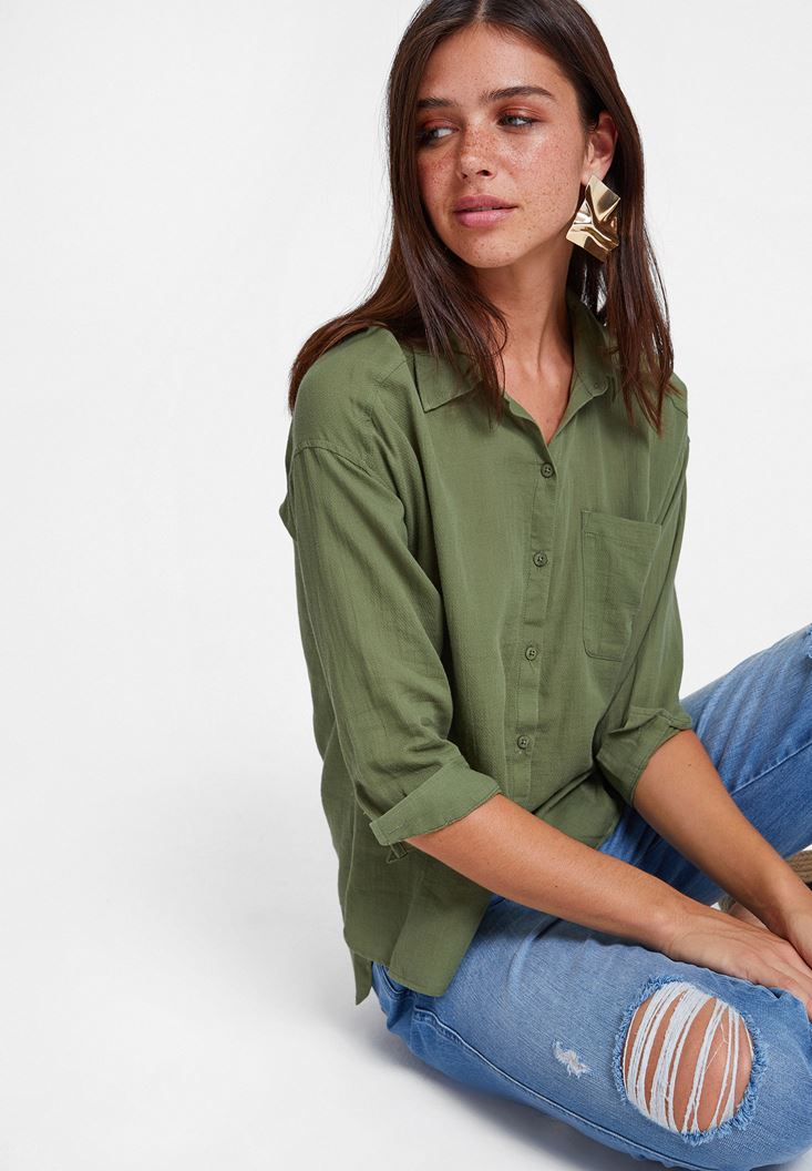 Green Cotton Shirt with Pocket