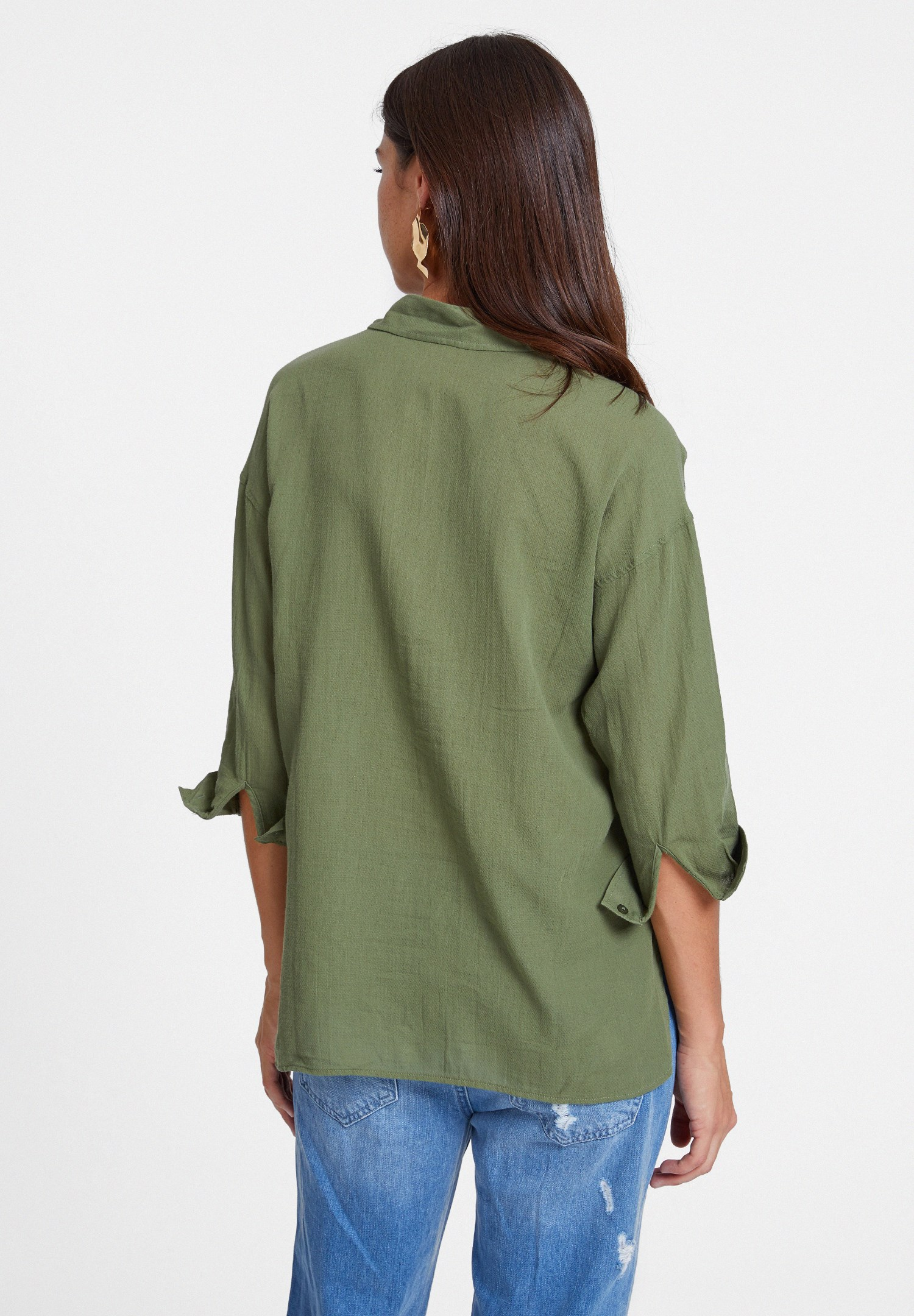 Women Green Cotton Shirt with Pocket