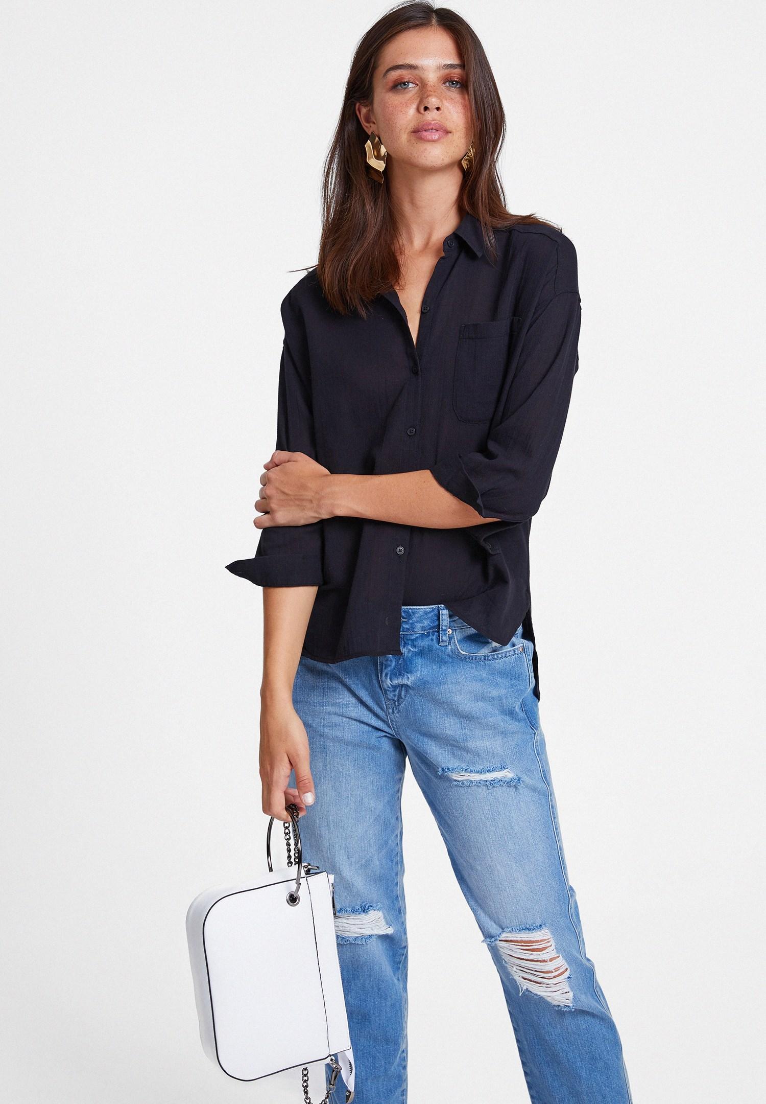 Bayan Siyah Cepli Pamuk Gömlek