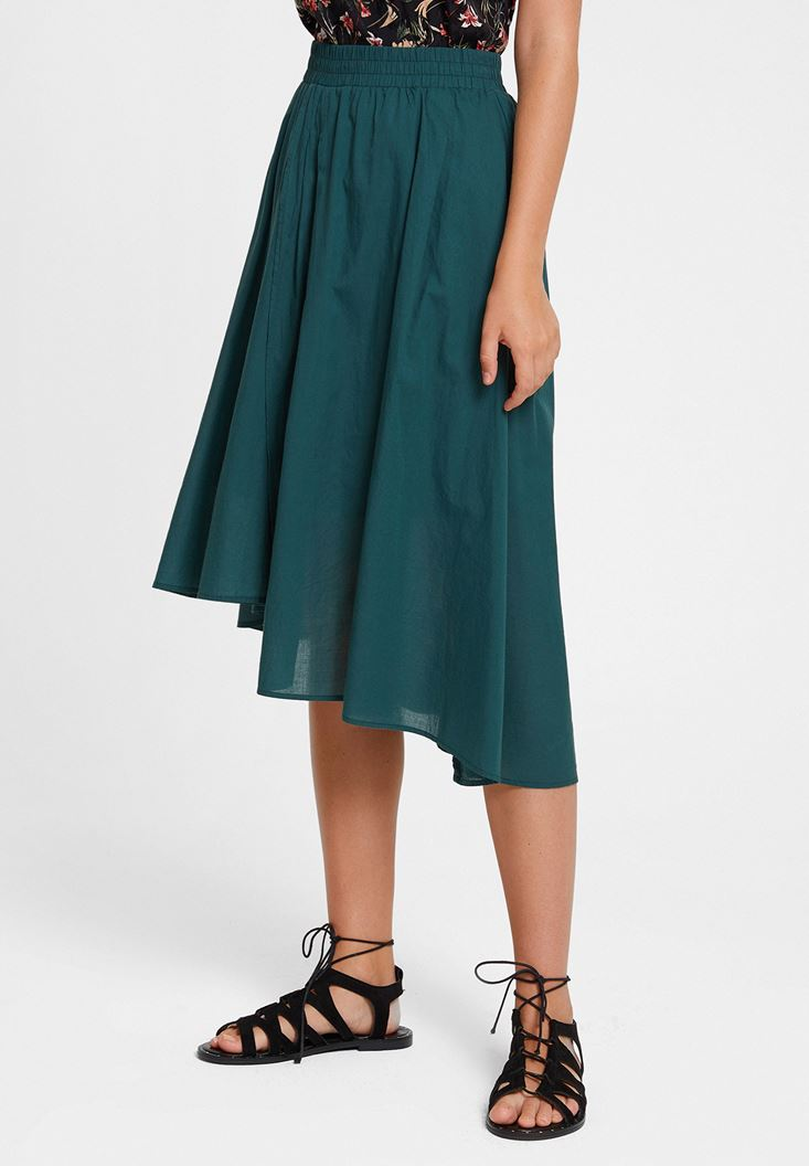 Green Asymmetric Midi Skirt