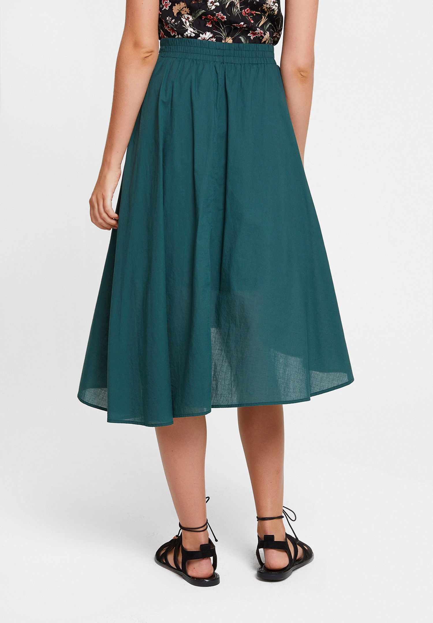 Women Green Asymmetric Midi Skirt