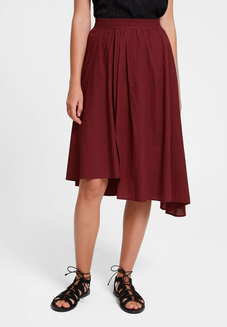 Bordeaux Asymmetric Midi Skirt
