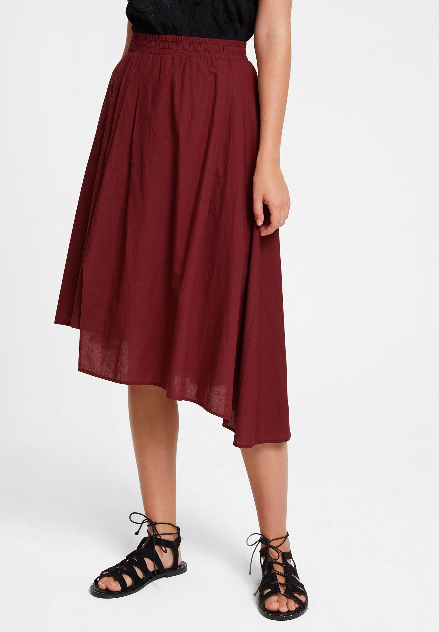 Women Bordeaux Asymmetric Midi Skirt