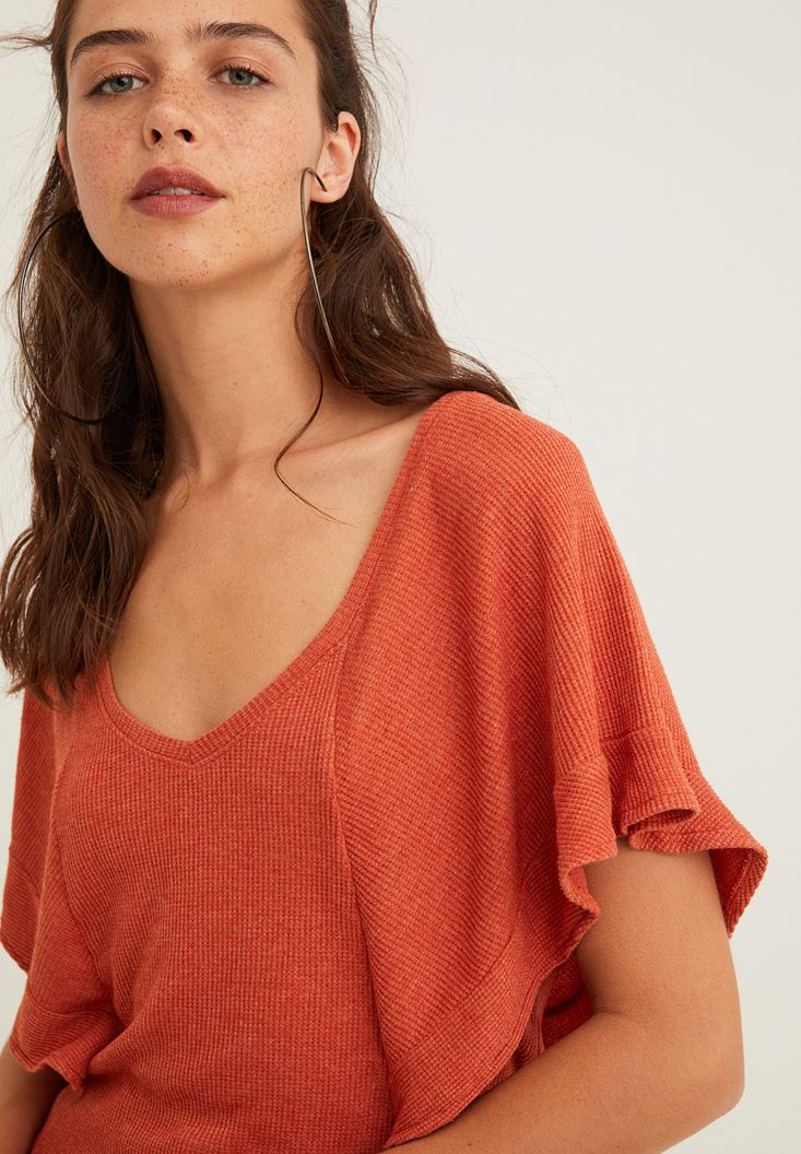 Orange V Neck Embroidered Blouse