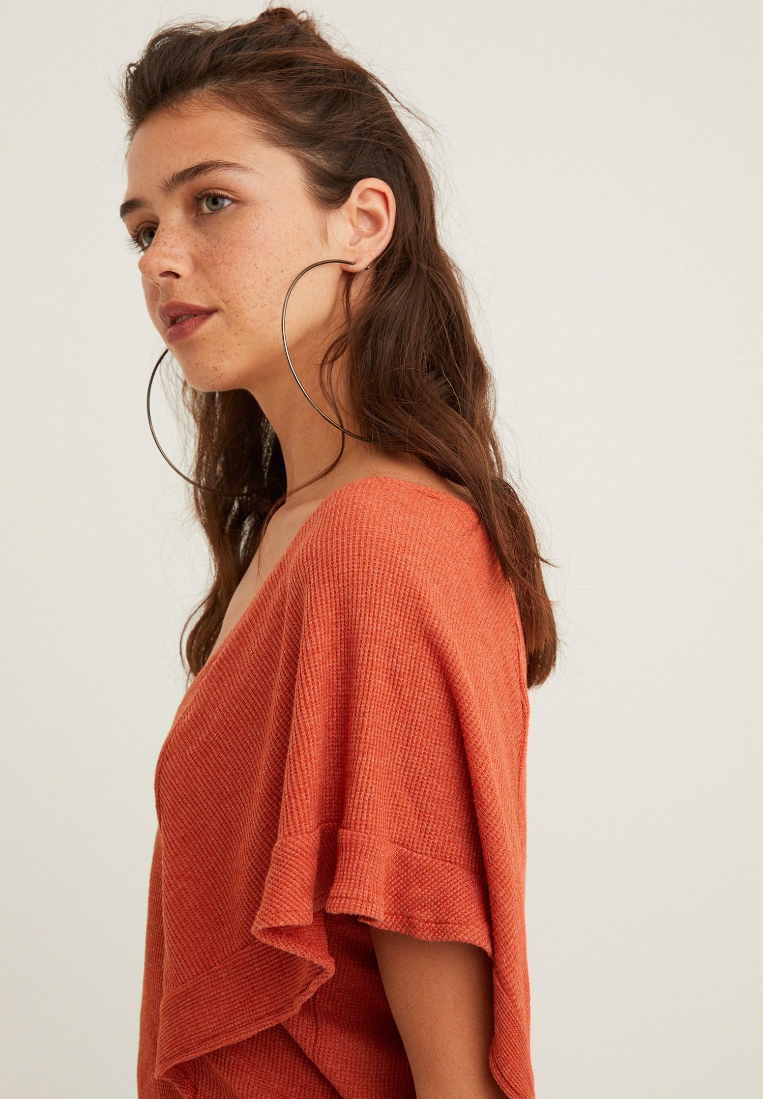 Bayan Turuncu V Yaka Nakış Detaylı Bluz