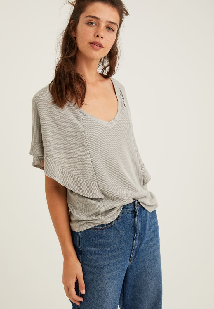 Grey Embroidery Blouse with V Neck