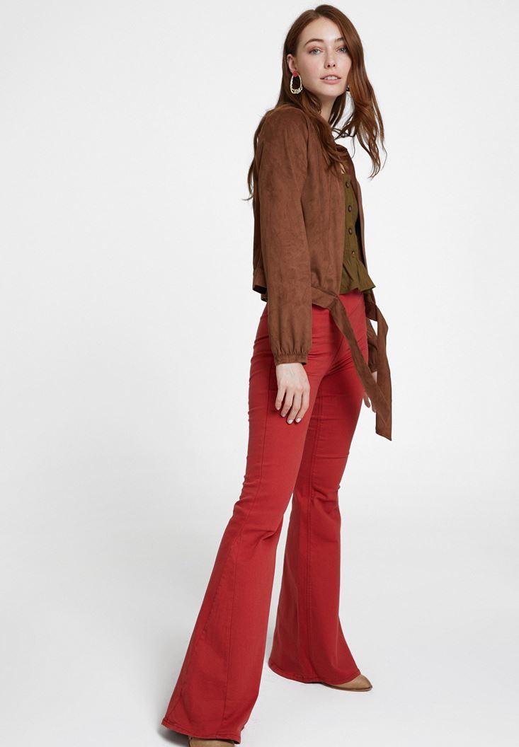 Kahverengi Yüksek Bel Detaylı Flare Pantolon