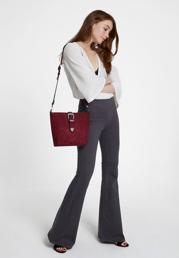 Grey High Rise Flare Trousers